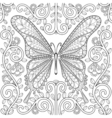 adult coloring book with butterfly in flowers vector image vector image