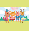 back to school cute animals with books and vector image vector image