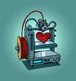bioprinter prints love heart 3d printer vector image