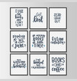 books and reading lettering set hand drawn vector image