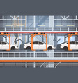 car production conveyor automatic assembly line vector image