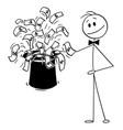 cartoon businessman magician with big black vector image vector image