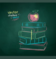 chalk drawn apple on books vector image vector image