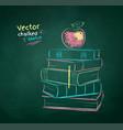 chalk drawn apple on books vector image