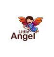 cheerful flying angel mascot cartoon logo