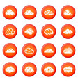 cloud icons set red vector image vector image