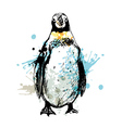 colored hand drawing penguin vector image vector image