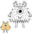 connect the dots and draw a cute monster vector image