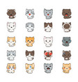 cute cartoon cats and dogs with different emotions vector image vector image