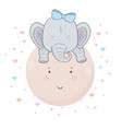 cute little blue elephant with bow on his head vector image vector image