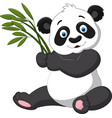 cute panda holding bamboo vector image