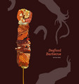 delicious grilled seafood on a skewer engraving vector image vector image