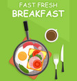 dripping pan with fresh breakfast vector image