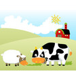farm field with funny animals barn at summer vector image