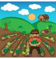 Farmer and watermelon a harvest cartoon vector image vector image