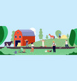 farmer life agricultural workers work with vector image vector image