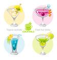 fresh fruit drink bar logo icon set flat vector image