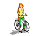 Girl and bicycle vector image vector image
