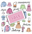 girl sale clothes and lettering doodle set vector image