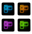 glowing neon cinema camera icon isolated on white vector image