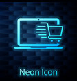 glowing neon shopping cart on screen laptop icon vector image vector image