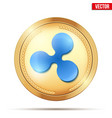 gold coin with ripple cryptocurrency sign vector image vector image