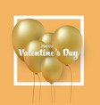 group of gold balloons valentines day card vector image