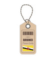 hang tag made in brunei with flag icon isolated on vector image