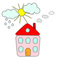 house with smoke chimney sun clouds rain vector image vector image