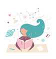 image a reading girl working student vector image vector image
