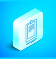 isometric line clipboard with document icon vector image vector image