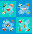 isometric marine logistics and seaport set vector image vector image