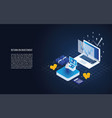 isometric return on investment in a laptop vector image vector image