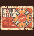 lifeguard rescue station metal rusty plate beach vector image vector image