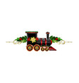 little christmas train with wagons decorated red vector image vector image