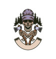 lumberjack screamed skull with two axes vector image vector image