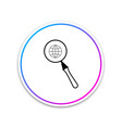 magnifying glass with globe icon isolated on white vector image vector image