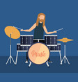 man playing drums battery vector image vector image