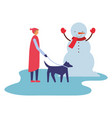 man with her dog and snowman winter vector image