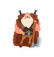muscular viking warrior character in animal skin vector image vector image