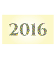 New year 2016 text design with flowers vector image vector image