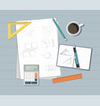 paper with ruler pencil pen coffee and other vector image vector image