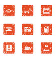 parking territory icons set grunge style vector image