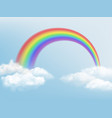 rainbow in sky weather background with clouds and vector image