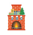 red brick fireplace with socks christmas tree and vector image