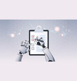robot hands holding check list paper document vector image