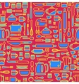 Seamless pattern featuring various kitchen vector image vector image