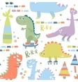 Seamless pattern with dinosaur Baby background vector image vector image