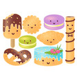 set of cute sweets croissant pretzel cupcake vector image vector image