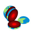 slice earth core center planet structure of vector image